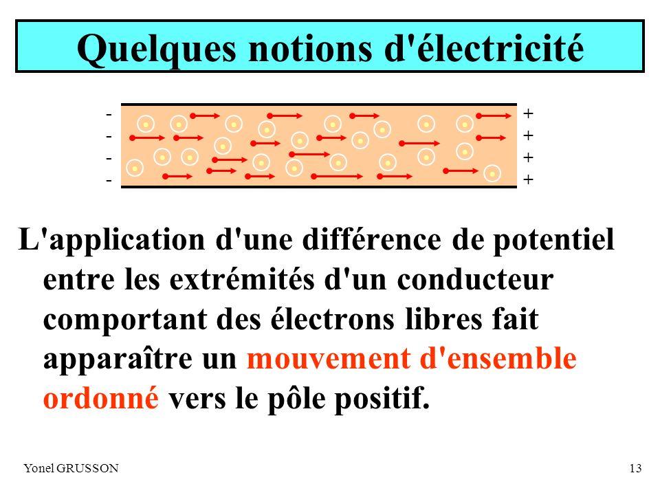 Yonel GRUSSON13 Quelques notions d'électricité L'application d'une différence de potentiel entre les extrémités d'un conducteur comportant des électro