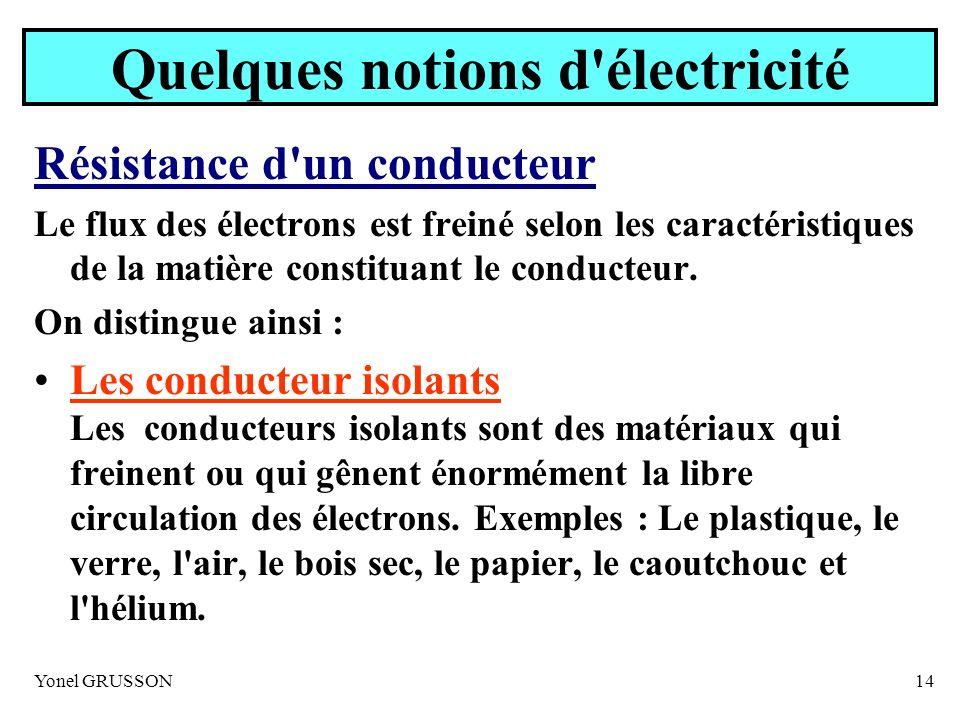 Yonel GRUSSON14 Quelques notions d'électricité Résistance d'un conducteur Le flux des électrons est freiné selon les caractéristiques de la matière co