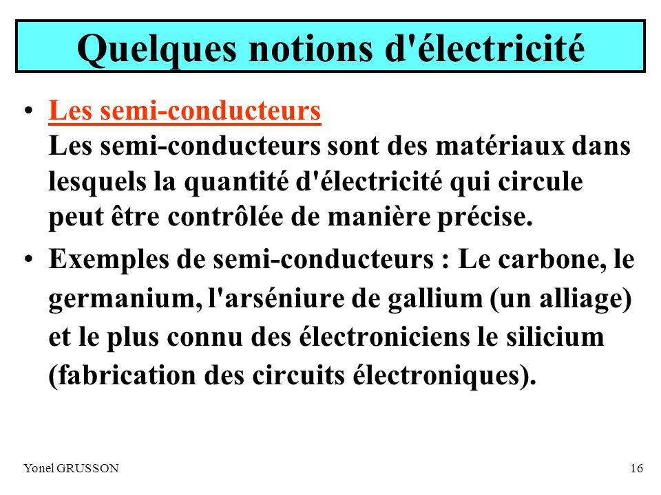 Yonel GRUSSON16 Quelques notions d'électricité Les semi-conducteurs Les semi-conducteurs sont des matériaux dans lesquels la quantité d'électricité qu