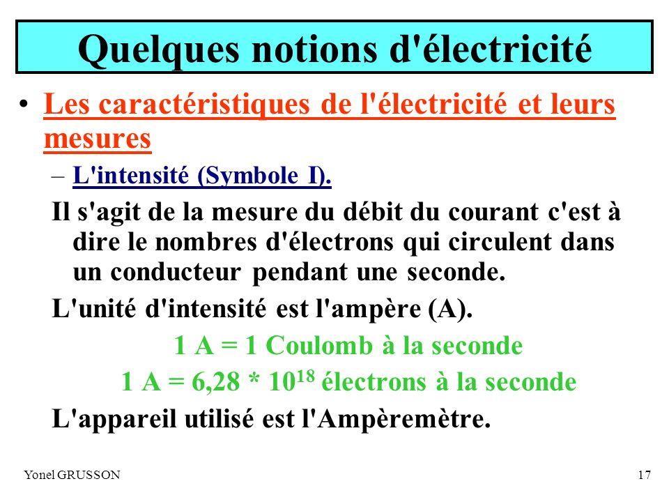 Yonel GRUSSON17 Quelques notions d'électricité Les caractéristiques de l'électricité et leurs mesures –L'intensité (Symbole I). Il s'agit de la mesure