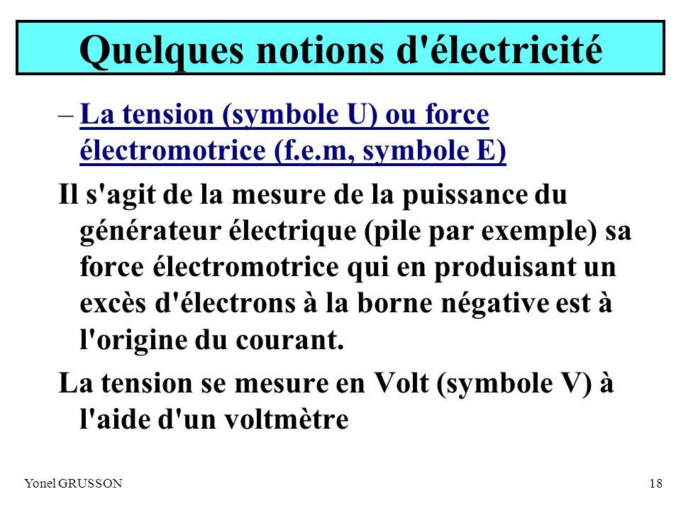Yonel GRUSSON18 Quelques notions d'électricité –La tension (symbole U) ou force électromotrice (f.e.m, symbole E) Il s'agit de la mesure de la puissan