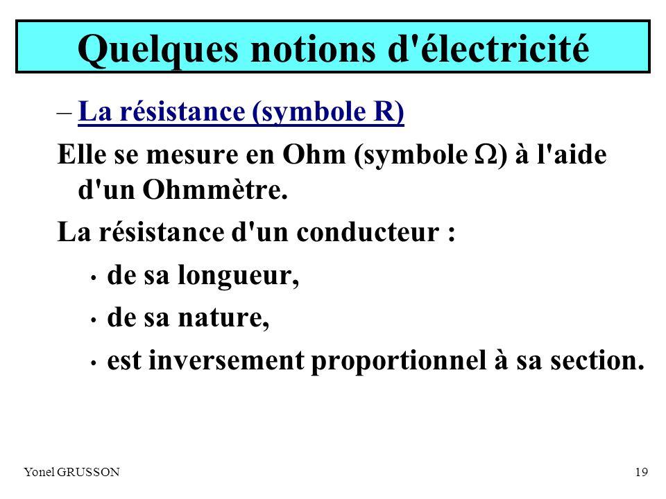 Yonel GRUSSON19 Quelques notions d'électricité –La résistance (symbole R) Elle se mesure en Ohm (symbole ) à l'aide d'un Ohmmètre. La résistance d'un