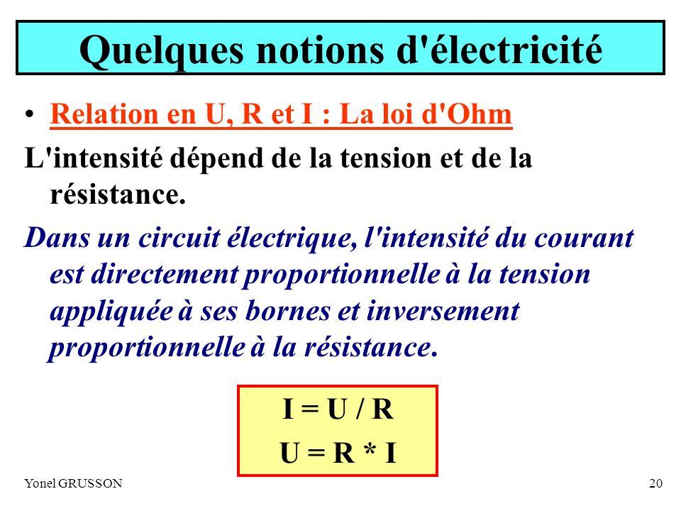 Yonel GRUSSON20 Quelques notions d'électricité Relation en U, R et I : La loi d'Ohm L'intensité dépend de la tension et de la résistance. Dans un circ