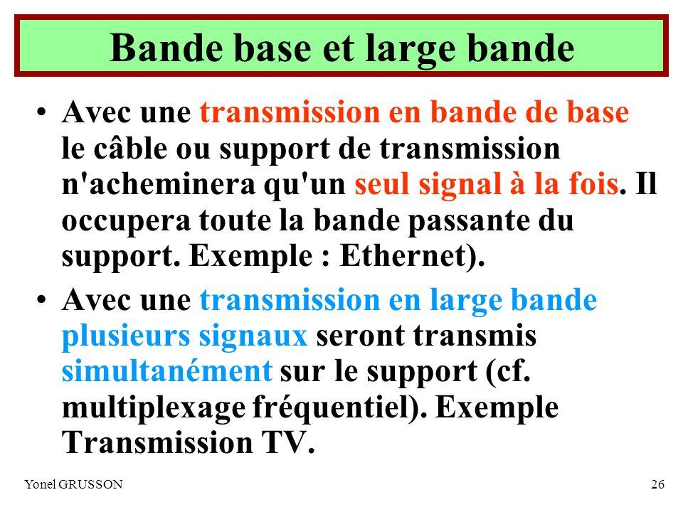 Yonel GRUSSON26 Bande base et large bande Avec une transmission en bande de base le câble ou support de transmission n'acheminera qu'un seul signal à