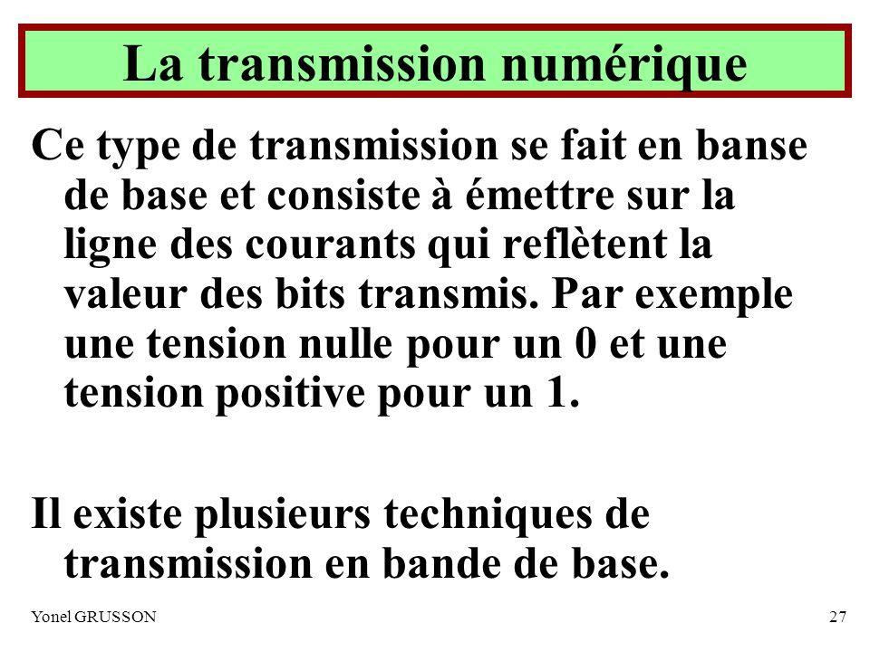 Yonel GRUSSON27 La transmission numérique Ce type de transmission se fait en banse de base et consiste à émettre sur la ligne des courants qui reflète
