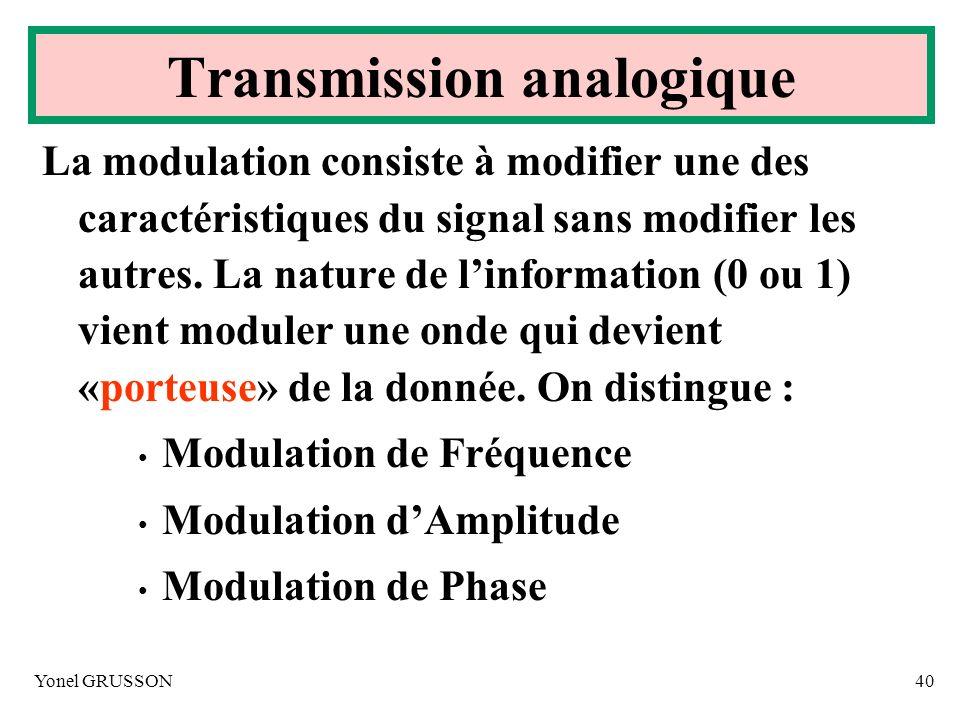 Yonel GRUSSON40 Transmission analogique La modulation consiste à modifier une des caractéristiques du signal sans modifier les autres. La nature de li