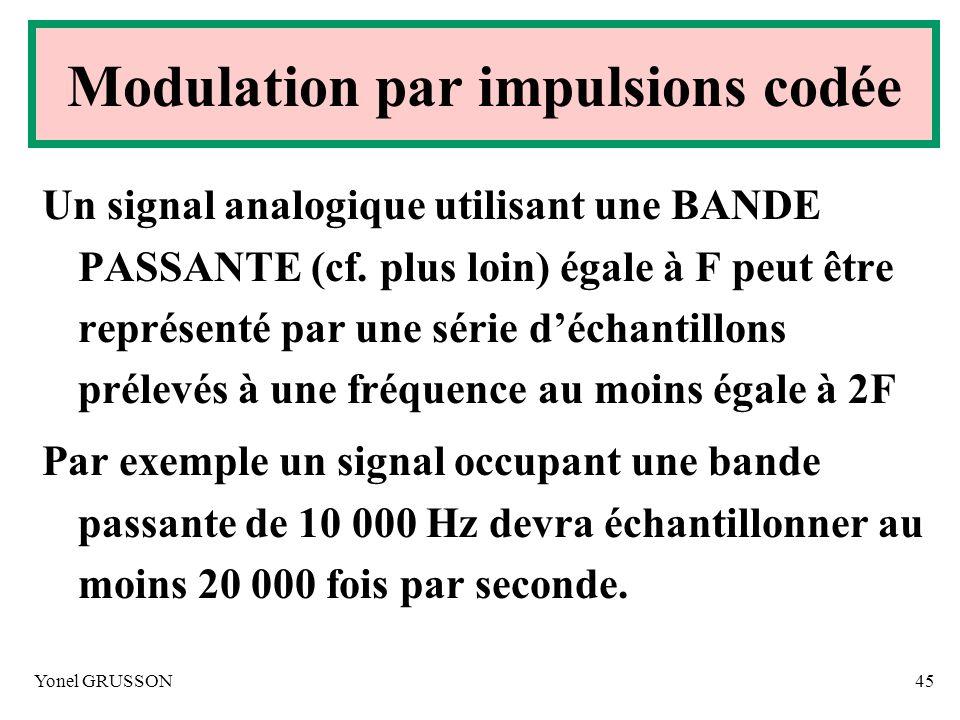 Yonel GRUSSON45 Un signal analogique utilisant une BANDE PASSANTE (cf. plus loin) égale à F peut être représenté par une série déchantillons prélevés