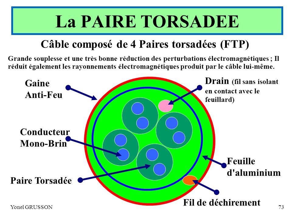 Yonel GRUSSON73 Câble composé de 4 Paires torsadées (FTP) Grande souplesse et une très bonne réduction des perturbations électromagnétiques ; Il rédui