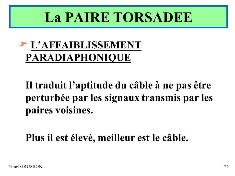 Yonel GRUSSON76 LAFFAIBLISSEMENT PARADIAPHONIQUE Il traduit laptitude du câble à ne pas être perturbée par les signaux transmis par les paires voisine