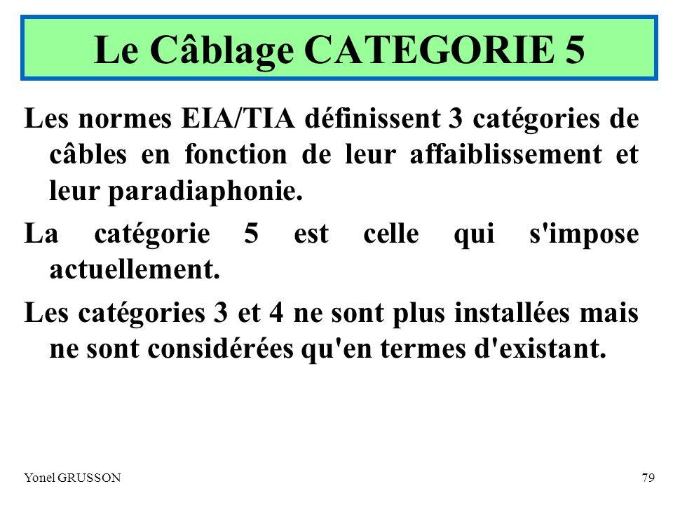 Yonel GRUSSON79 Les normes EIA/TIA définissent 3 catégories de câbles en fonction de leur affaiblissement et leur paradiaphonie. La catégorie 5 est ce