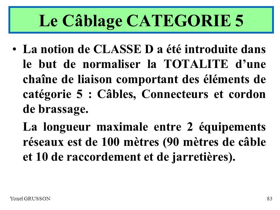 Yonel GRUSSON83 La notion de CLASSE D a été introduite dans le but de normaliser la TOTALITE dune chaîne de liaison comportant des éléments de catégor