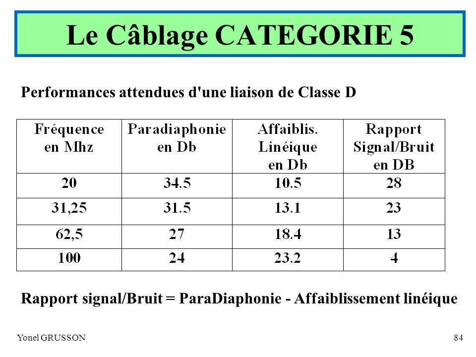 Yonel GRUSSON84 Performances attendues d'une liaison de Classe D Rapport signal/Bruit = ParaDiaphonie - Affaiblissement linéique Le Câblage CATEGORIE