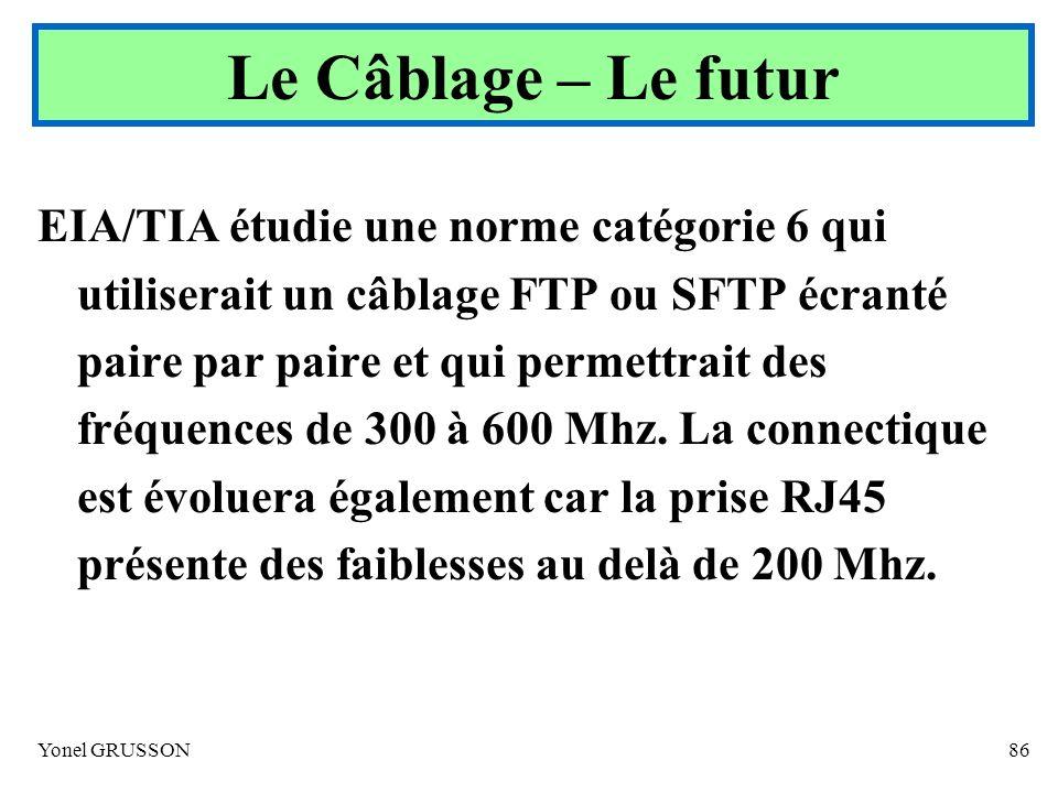 Yonel GRUSSON86 EIA/TIA étudie une norme catégorie 6 qui utiliserait un câblage FTP ou SFTP écranté paire par paire et qui permettrait des fréquences