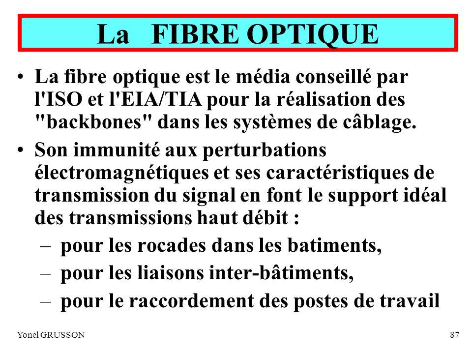 Yonel GRUSSON87 La fibre optique est le média conseillé par l'ISO et l'EIA/TIA pour la réalisation des