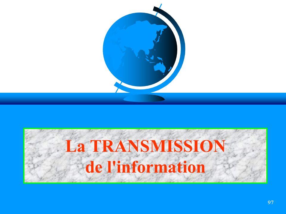 97 La TRANSMISSION de l'information