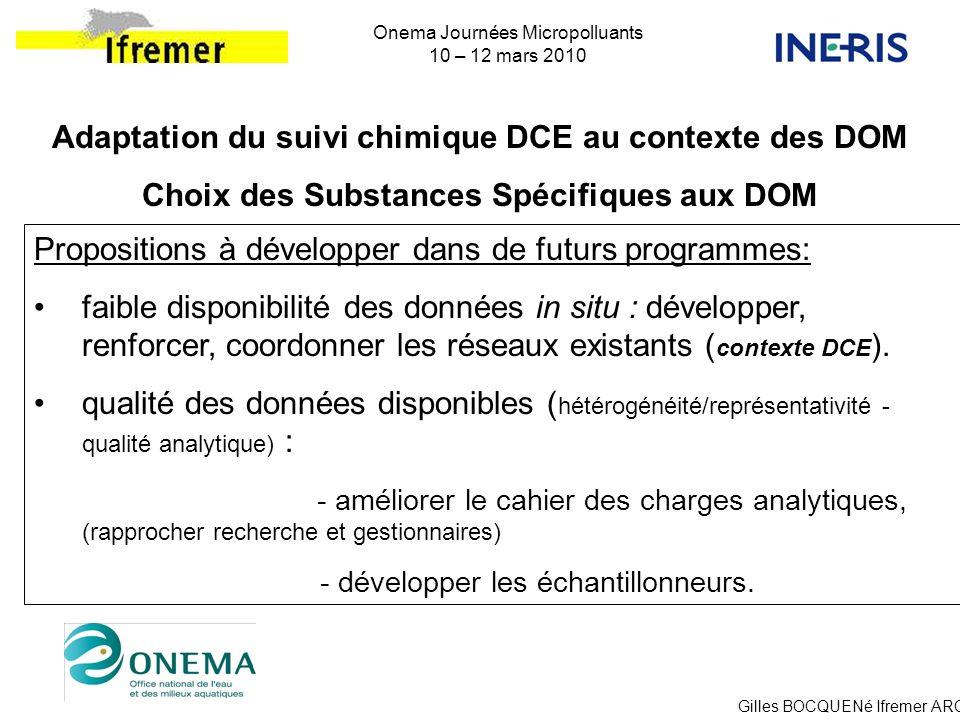 Gilles BOCQUENé Ifremer ARC Onema Journées Micropolluants 10 – 12 mars 2010 Propositions à développer dans de futurs programmes: faible disponibilité
