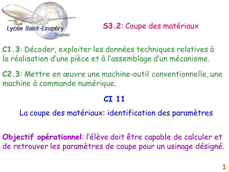 2 SOMMAIRE 1-Introduction 2-La vitesse de coupe Vc (m/min) 3-La fréquence de rotation n (trs/min) 4-Lavance f (mm/tr/dent) et la vitesse davance Vf (mm/min)