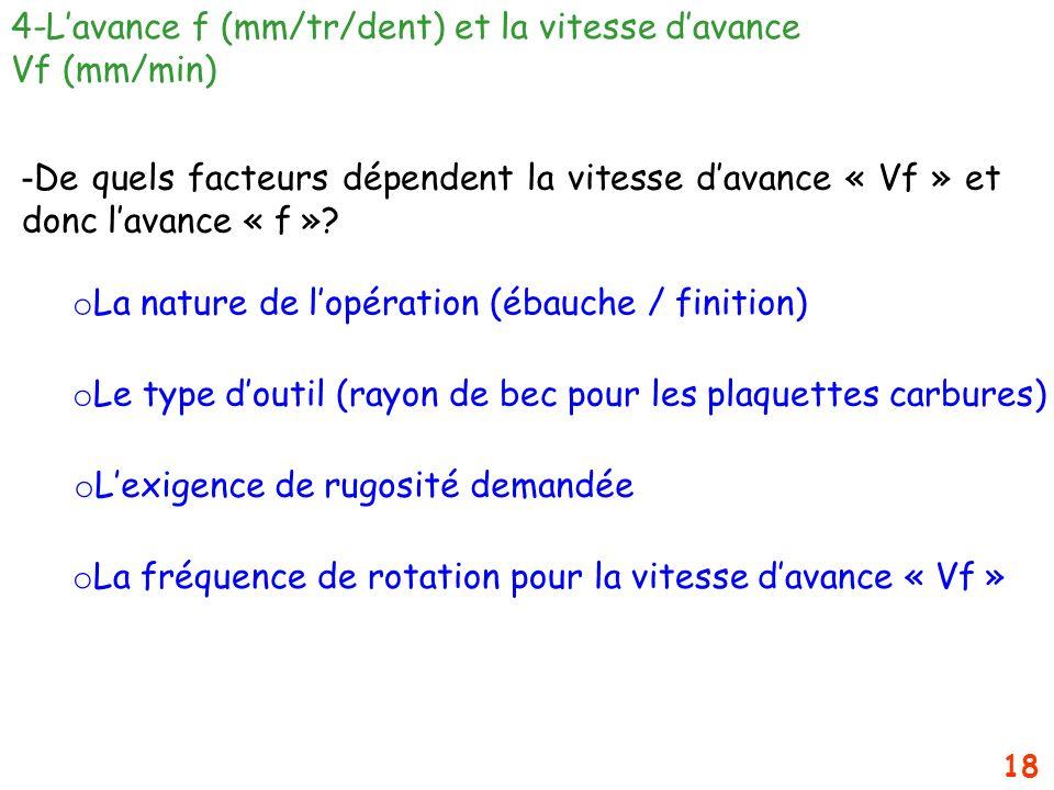18 4-Lavance f (mm/tr/dent) et la vitesse davance Vf (mm/min) - De quels facteurs dépendent la vitesse davance « Vf » et donc lavance « f »? o La natu