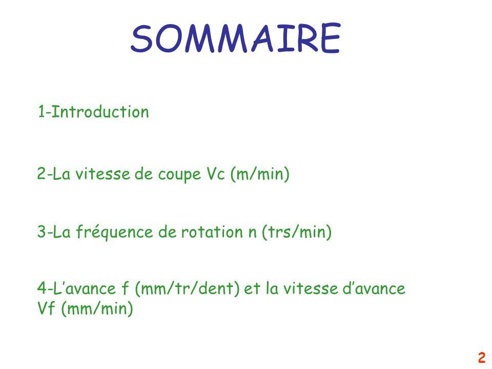 2 SOMMAIRE 1-Introduction 2-La vitesse de coupe Vc (m/min) 3-La fréquence de rotation n (trs/min) 4-Lavance f (mm/tr/dent) et la vitesse davance Vf (m