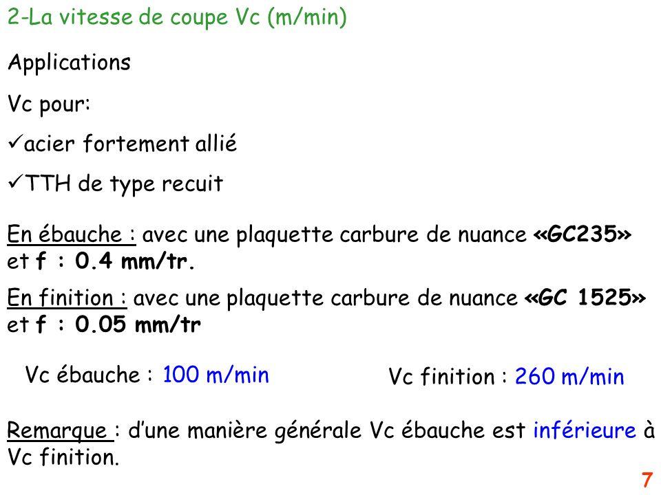 7 2-La vitesse de coupe Vc (m/min) Applications Vc pour: acier fortement allié TTH de type recuit En ébauche : avec une plaquette carbure de nuance «G