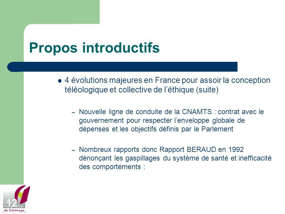 12 Propos introductifs 4 évolutions majeures en France pour assoir la conception téléologique et collective de léthique (suite) – Nouvelle ligne de co