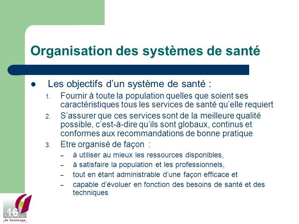 16 Organisation des systèmes de santé Les objectifs dun système de santé : 1. Fournir à toute la population quelles que soient ses caractéristiques to