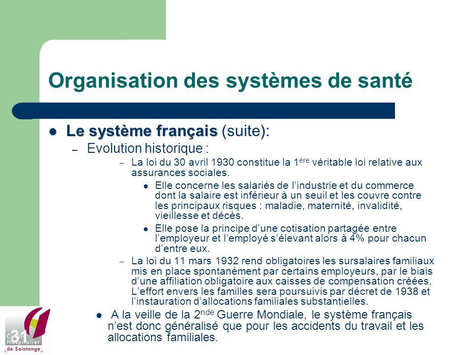 31 Organisation des systèmes de santé Le système français Le système français (suite): – Evolution historique : – La loi du 30 avril 1930 constitue la