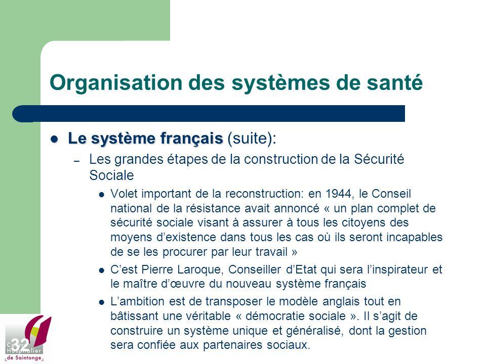 32 Organisation des systèmes de santé Le système français Le système français (suite): – Les grandes étapes de la construction de la Sécurité Sociale