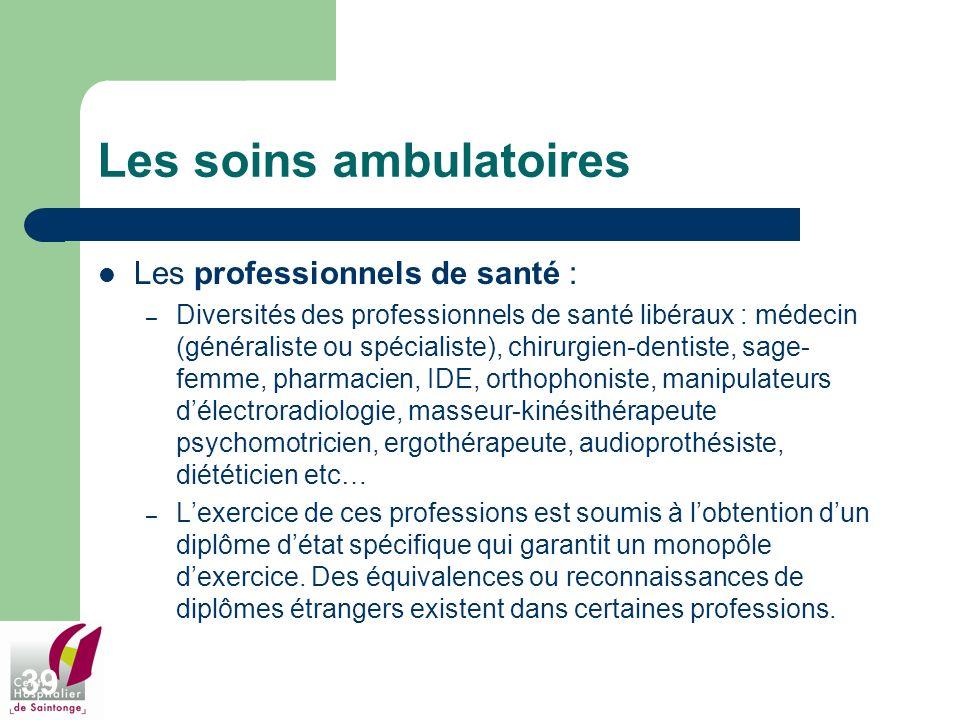 39 Les soins ambulatoires Les professionnels de santé : – Diversités des professionnels de santé libéraux : médecin (généraliste ou spécialiste), chir