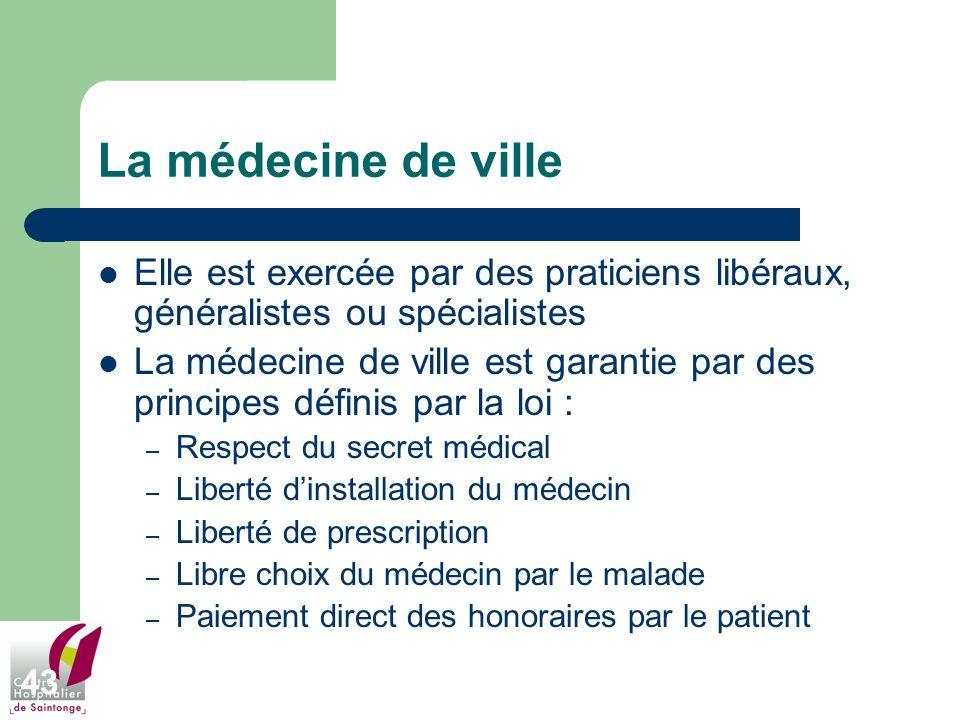 43 La médecine de ville Elle est exercée par des praticiens libéraux, généralistes ou spécialistes La médecine de ville est garantie par des principes