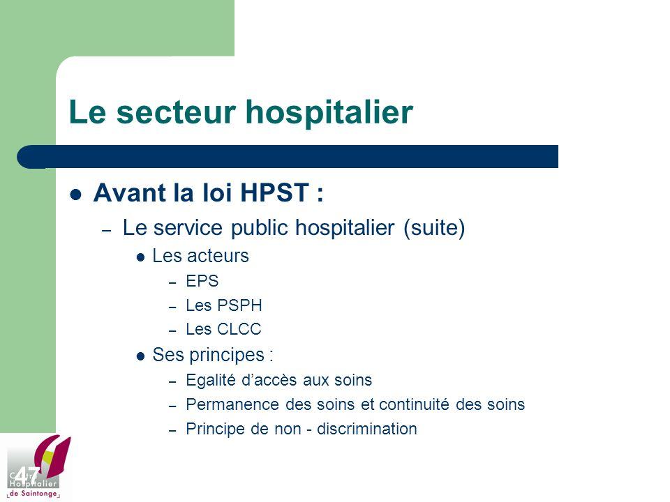 47 Le secteur hospitalier Avant la loi HPST : – Le service public hospitalier (suite) Les acteurs – EPS – Les PSPH – Les CLCC Ses principes : – Egalit