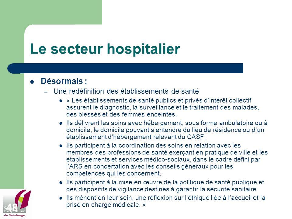 48 Le secteur hospitalier Désormais : – Une redéfinition des établissements de santé « Les établissements de santé publics et privés dintérêt collecti