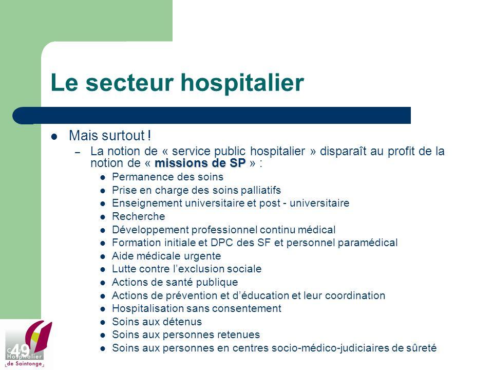 49 Le secteur hospitalier Mais surtout ! missions de SP – La notion de « service public hospitalier » disparaît au profit de la notion de « missions d