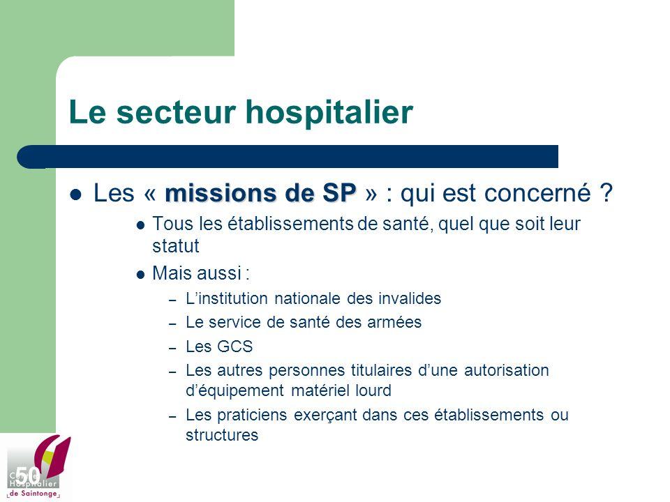 50 Le secteur hospitalier missions de SP Les « missions de SP » : qui est concerné ? Tous les établissements de santé, quel que soit leur statut Mais