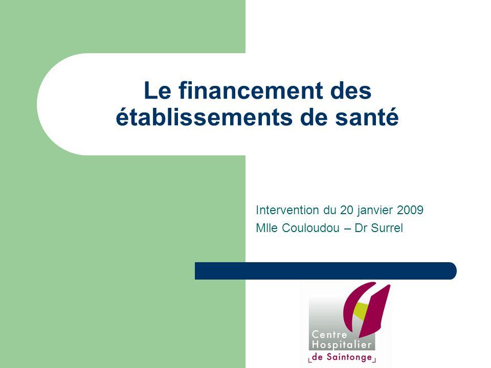 Le financement des établissements de santé Intervention du 20 janvier 2009 Mlle Couloudou – Dr Surrel