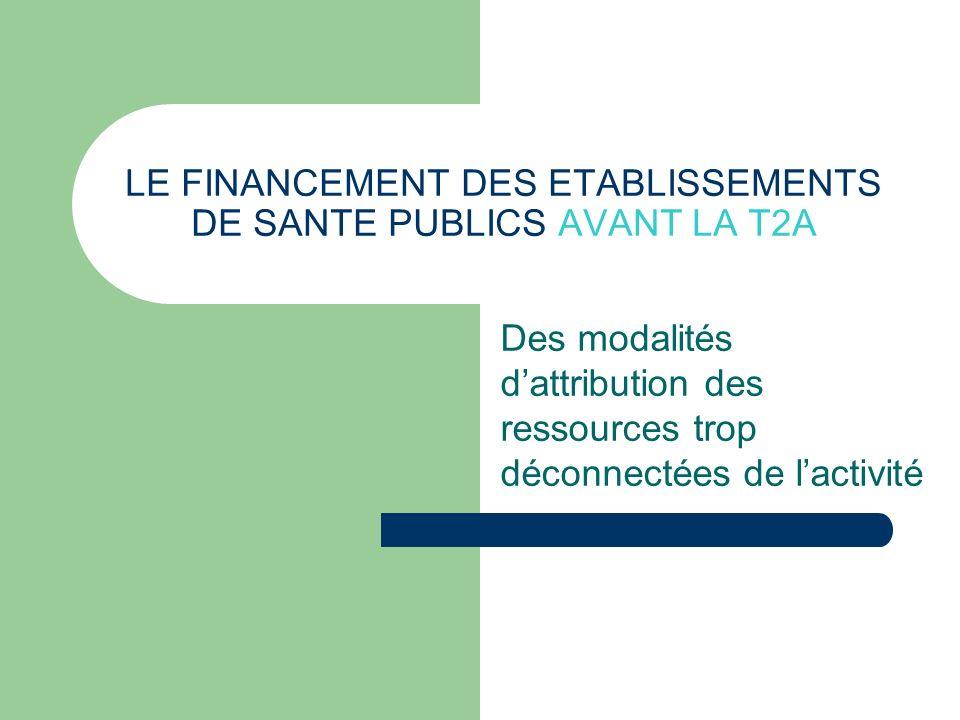 LE FINANCEMENT DES ETABLISSEMENTS DE SANTE PUBLICS AVANT LA T2A Des modalités dattribution des ressources trop déconnectées de lactivité