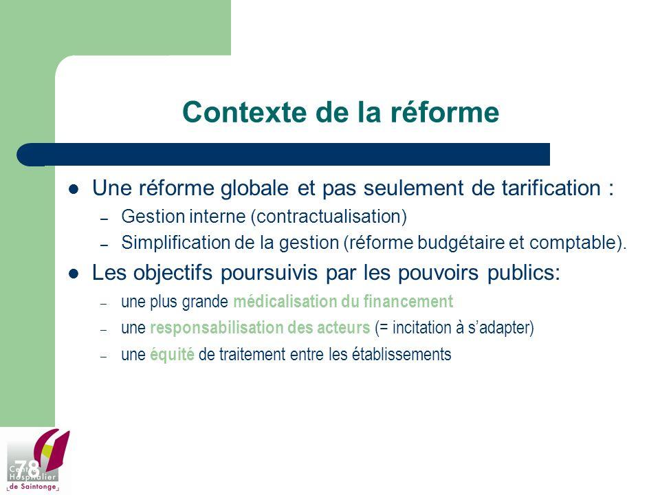 78 Contexte de la réforme Une réforme globale et pas seulement de tarification : – Gestion interne (contractualisation) – Simplification de la gestion
