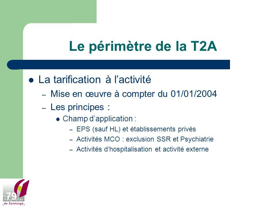 79 Le périmètre de la T2A La tarification à lactivité – Mise en œuvre à compter du 01/01/2004 – Les principes : Champ dapplication : – EPS (sauf HL) e