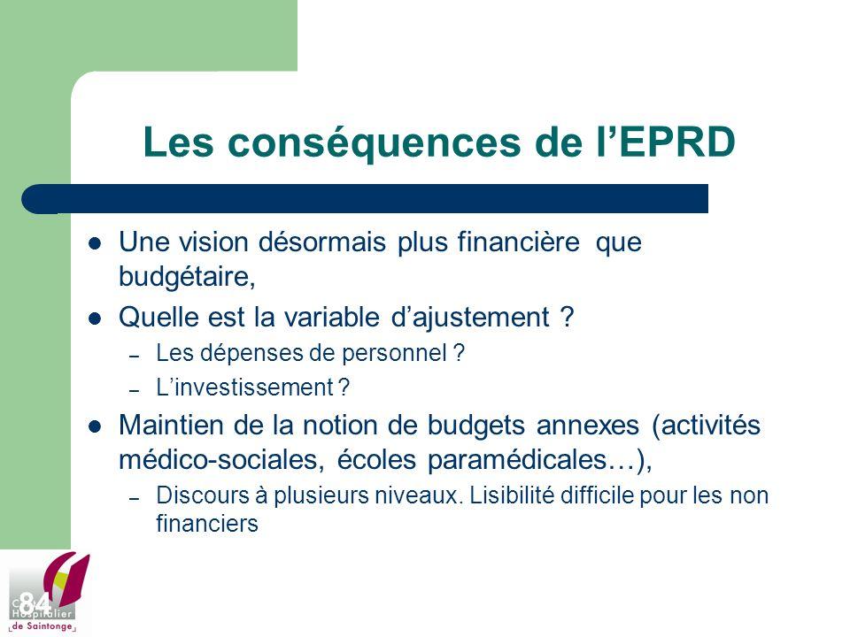 84 Les conséquences de lEPRD Une vision désormais plus financière que budgétaire, Quelle est la variable dajustement ? – Les dépenses de personnel ? –
