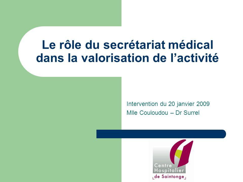 Le rôle du secrétariat médical dans la valorisation de lactivité Intervention du 20 janvier 2009 Mlle Couloudou – Dr Surrel