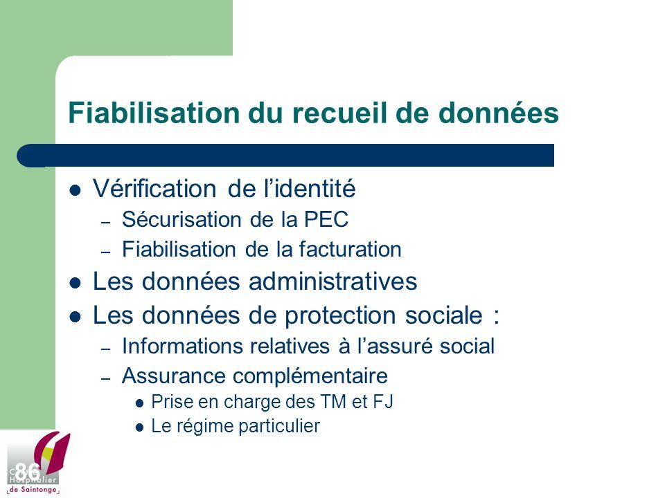 86 Fiabilisation du recueil de données Vérification de lidentité – Sécurisation de la PEC – Fiabilisation de la facturation Les données administrative