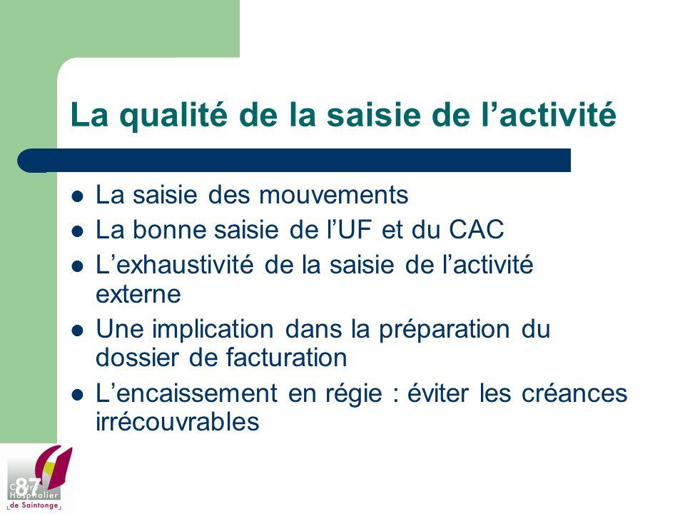 87 La qualité de la saisie de lactivité La saisie des mouvements La bonne saisie de lUF et du CAC Lexhaustivité de la saisie de lactivité externe Une