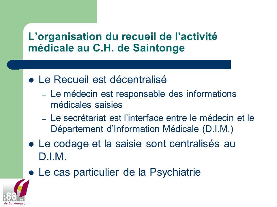 88 Lorganisation du recueil de lactivité médicale au C.H. de Saintonge Le Recueil est décentralisé – Le médecin est responsable des informations médic