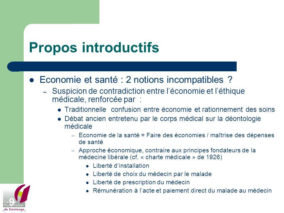 9 Propos introductifs Economie et santé : 2 notions incompatibles ? – Suspicion de contradiction entre léconomie et léthique médicale, renforcée par :