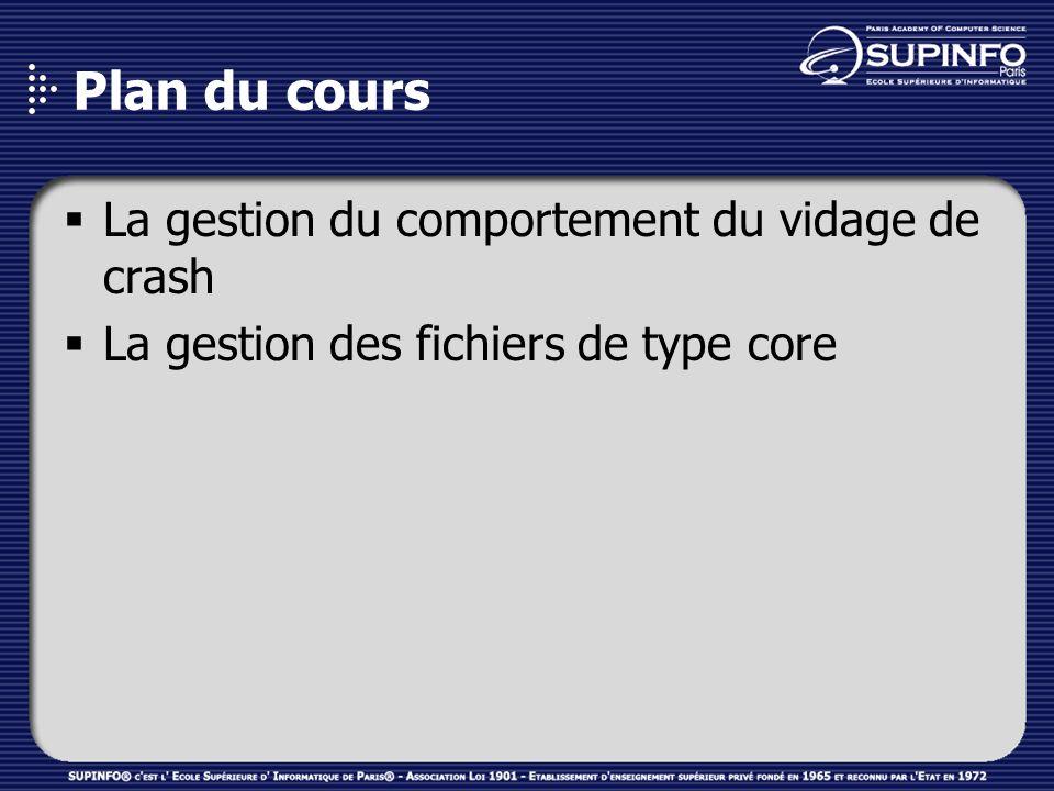 Plan du cours La gestion du comportement du vidage de crash La gestion des fichiers de type core