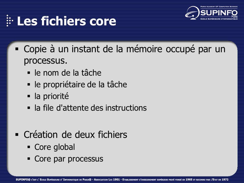 Les fichiers core Copie à un instant de la mémoire occupé par un processus.