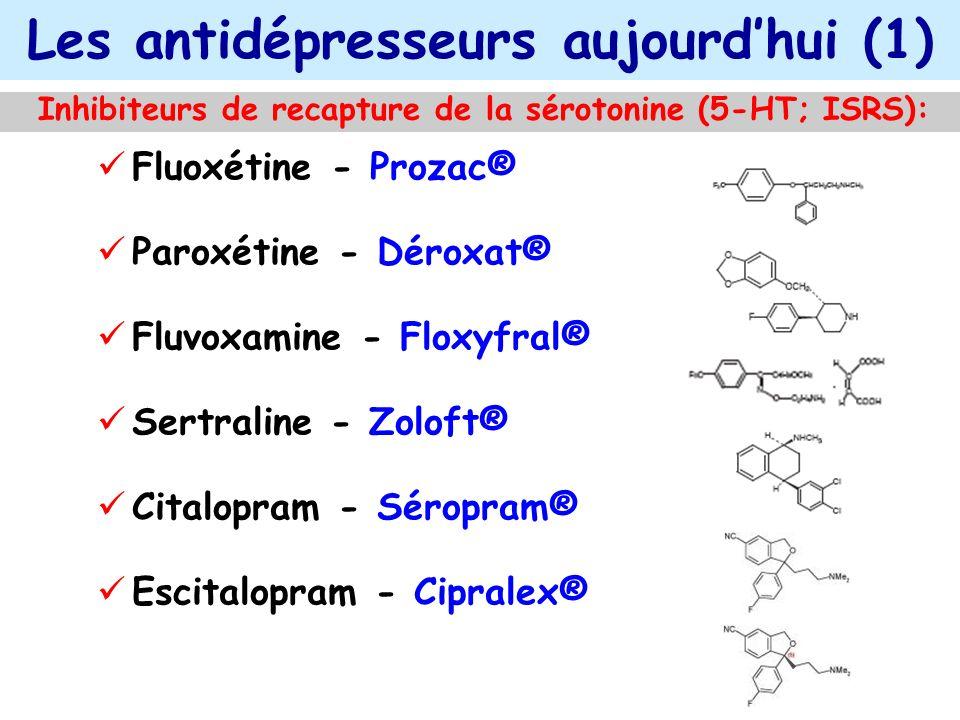 Les antidépresseurs aujourdhui (1) Inhibiteurs de recapture de la sérotonine (5-HT; ISRS): Fluoxétine - Prozac® Paroxétine - Déroxat® Fluvoxamine - Fl