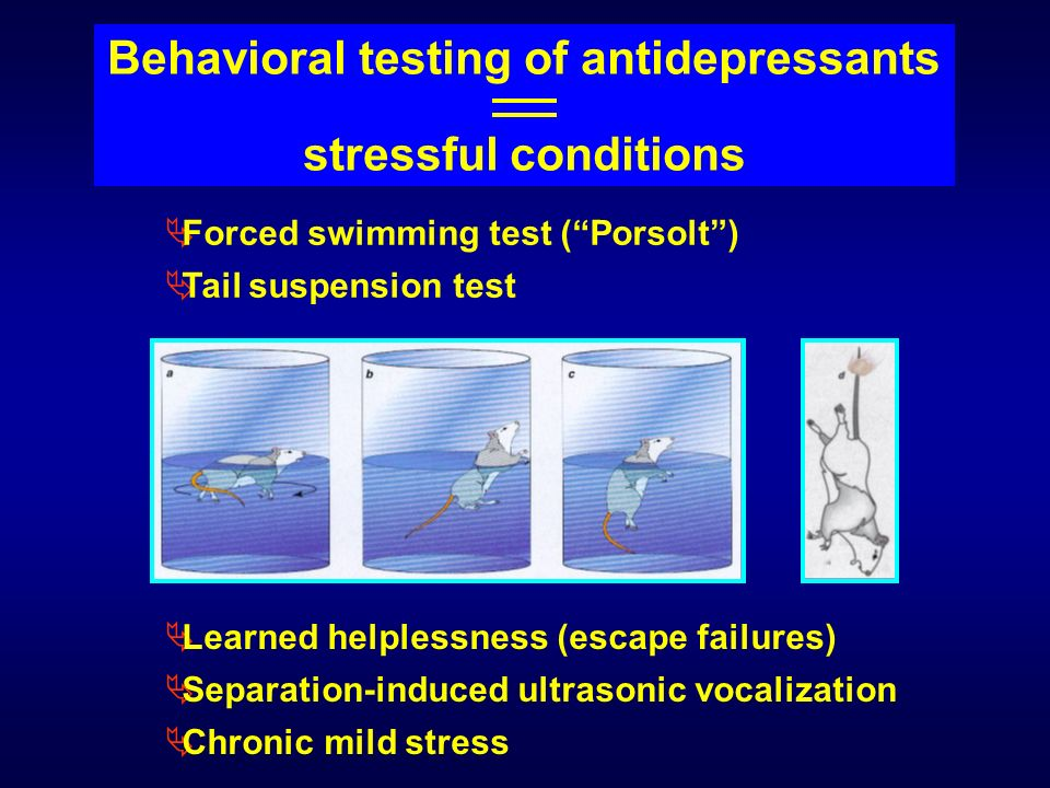 Forced swimming test (Porsolt) Tail suspension test Learned helplessness (escape failures) Separation-induced ultrasonic vocalization Chronic mild str