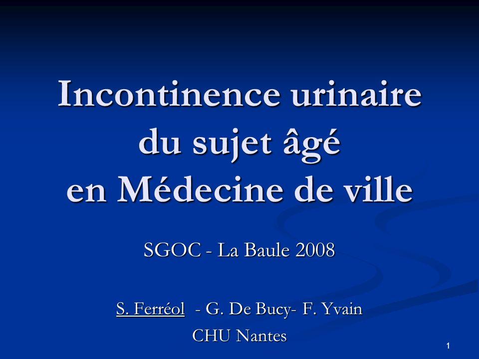 1 Incontinence urinaire du sujet âgé en Médecine de ville SGOC - La Baule 2008 S. Ferréol - G. De Bucy- F. Yvain CHU Nantes