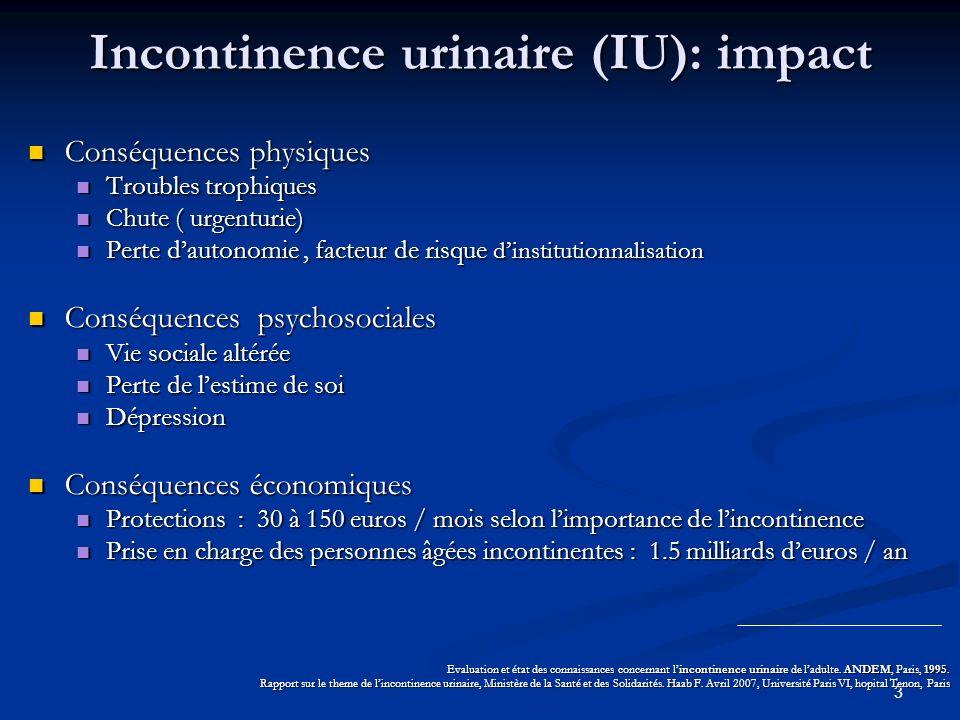 3 Incontinence urinaire (IU): impact Conséquences physiques Conséquences physiques Troubles trophiques Troubles trophiques Chute ( urgenturie) Chute (